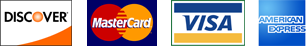 Credit card logos. Applied Motion accepts Discover, MasterCard, Visa and Amex
