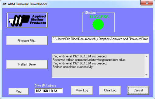 Arm firmware downloader | applied motion.